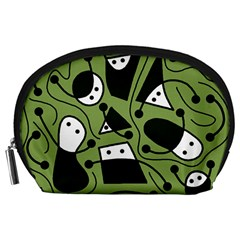 Playful Abstract Art   Green Accessory Pouches (large)  by Valentinaart