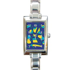 Playful Abstract Art   Blue And Yellow Rectangle Italian Charm Watch by Valentinaart