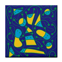 Playful Abstract Art   Blue And Yellow Tile Coasters by Valentinaart