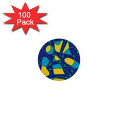Playful Abstract Art   Blue And Yellow 1  Mini Buttons (100 Pack)  by Valentinaart