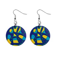Playful Abstract Art   Blue And Yellow Mini Button Earrings