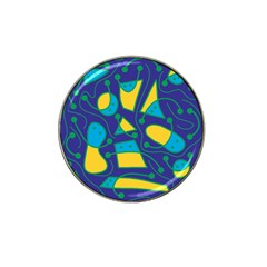 Playful Abstract Art   Blue And Yellow Hat Clip Ball Marker (10 Pack) by Valentinaart