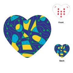 Playful Abstract Art   Blue And Yellow Playing Cards (heart)  by Valentinaart