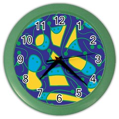 Playful Abstract Art   Blue And Yellow Color Wall Clocks by Valentinaart