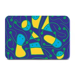 Playful Abstract Art   Blue And Yellow Plate Mats by Valentinaart