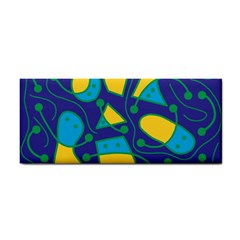 Playful Abstract Art   Blue And Yellow Hand Towel by Valentinaart