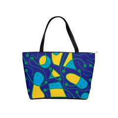 Playful Abstract Art   Blue And Yellow Shoulder Handbags by Valentinaart