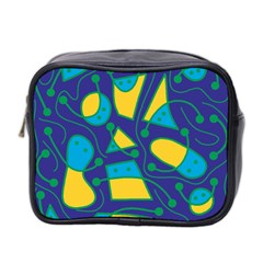 Playful Abstract Art   Blue And Yellow Mini Toiletries Bag 2 Side by Valentinaart