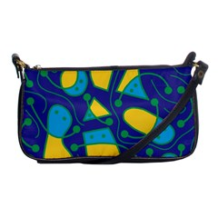 Playful Abstract Art   Blue And Yellow Shoulder Clutch Bags by Valentinaart