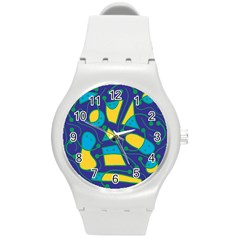 Playful Abstract Art   Blue And Yellow Round Plastic Sport Watch (m) by Valentinaart