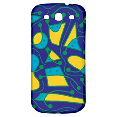 Playful Abstract Art   Blue And Yellow Samsung Galaxy S3 S Iii Classic Hardshell Back Case by Valentinaart