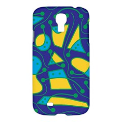 Playful Abstract Art   Blue And Yellow Samsung Galaxy S4 I9500/i9505 Hardshell Case by Valentinaart