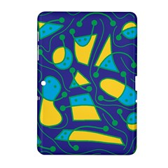 Playful Abstract Art   Blue And Yellow Samsung Galaxy Tab 2 (10 1 ) P5100 Hardshell Case  by Valentinaart
