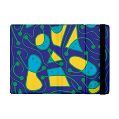 Playful Abstract Art   Blue And Yellow Ipad Mini 2 Flip Cases