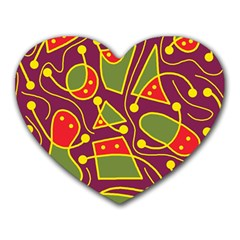 Playful Decorative Abstract Art Heart Mousepads by Valentinaart