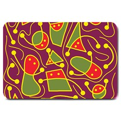 Playful Decorative Abstract Art Large Doormat  by Valentinaart