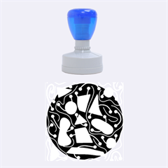 Playful Decorative Abstract Art Rubber Round Stamps (medium)
