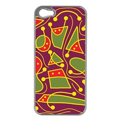 Playful Decorative Abstract Art Apple Iphone 5 Case (silver) by Valentinaart