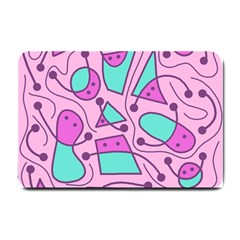 Playful Abstract Art   Pink Small Doormat  by Valentinaart
