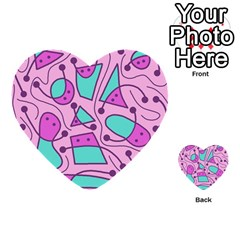 Playful Abstract Art   Pink Multi Purpose Cards (heart)