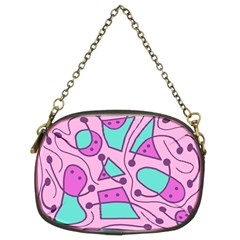 Playful Abstract Art   Pink Chain Purses (two Sides)  by Valentinaart