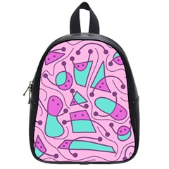 Playful Abstract Art   Pink School Bags (small)  by Valentinaart