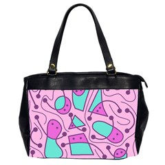 Playful Abstract Art   Pink Office Handbags (2 Sides)  by Valentinaart