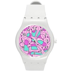 Playful Abstract Art   Pink Round Plastic Sport Watch (m) by Valentinaart