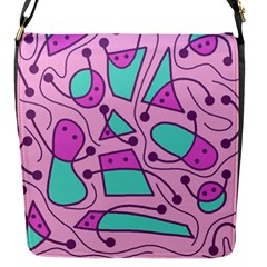Playful Abstract Art   Pink Flap Messenger Bag (s) by Valentinaart
