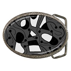 Playful Abstract Art   Gray Belt Buckles by Valentinaart