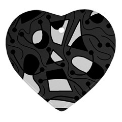 Playful Abstract Art   Gray Heart Ornament (2 Sides) by Valentinaart