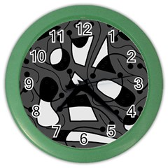 Playful Abstract Art   Gray Color Wall Clocks by Valentinaart