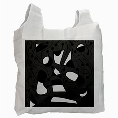 Playful Abstract Art   Gray Recycle Bag (one Side)