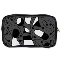 Playful Abstract Art   Gray Toiletries Bags by Valentinaart