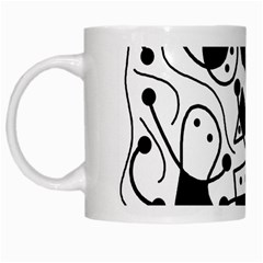 Playful Abstract Art   White And Black White Mugs by Valentinaart