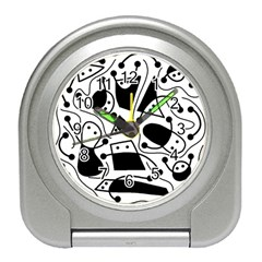 Playful Abstract Art   White And Black Travel Alarm Clocks by Valentinaart