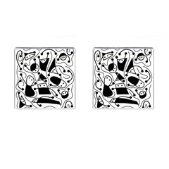 Playful Abstract Art   White And Black Cufflinks (square)