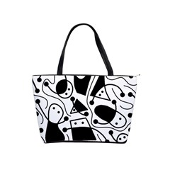 Playful Abstract Art   White And Black Shoulder Handbags by Valentinaart