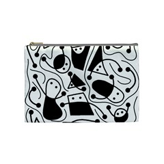 Playful Abstract Art   White And Black Cosmetic Bag (medium)  by Valentinaart