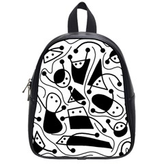 Playful Abstract Art   White And Black School Bags (small)  by Valentinaart