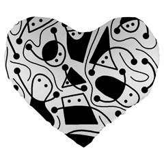 Playful Abstract Art   White And Black Large 19  Premium Heart Shape Cushions