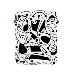 Playful Abstract Art   White And Black Apple Ipad 2/3/4 Protective Soft Cases by Valentinaart