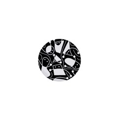 Playful Abstract Art   Black And White 1  Mini Buttons by Valentinaart