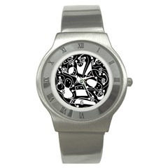 Playful Abstract Art   Black And White Stainless Steel Watch by Valentinaart
