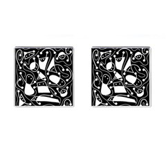 Playful Abstract Art   Black And White Cufflinks (square)