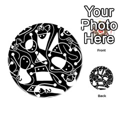 Playful Abstract Art   Black And White Playing Cards 54 (round)  by Valentinaart