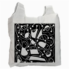 Playful Abstract Art   Black And White Recycle Bag (two Side)  by Valentinaart
