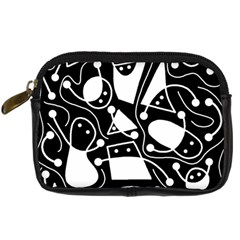 Playful Abstract Art   Black And White Digital Camera Cases by Valentinaart