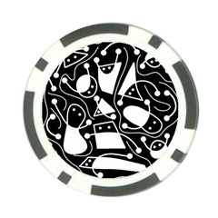 Playful Abstract Art   Black And White Poker Chip Card Guards (10 Pack)  by Valentinaart