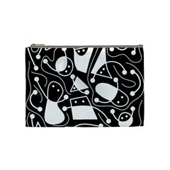 Playful Abstract Art   Black And White Cosmetic Bag (medium)  by Valentinaart